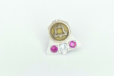 Bell Telephone Lapel Pin 10k Solid GOLD w/ REAL Natural Rubies & Diamond
