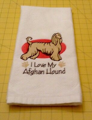 I Love My Afghan Hound Williams Sonoma Embroidered Kitchen Towel, 20 x 30