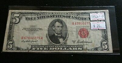USA 1953 A $5 Dollar Red Seal United States Note Very Nice Great Banknote