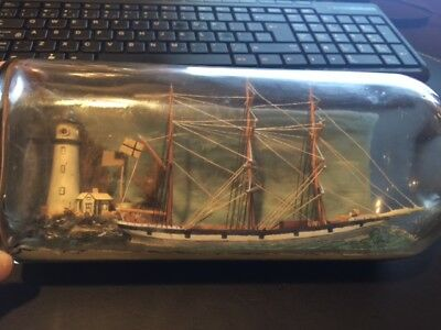 Beautiful ANTIQUE SHIP IN A BOTTLE