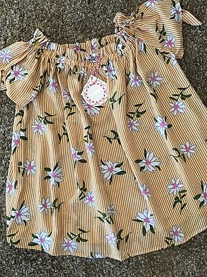 Womens ~UMGEE~ Cold Shoulder Floral Striped Shirt Top Blouse ~NWT~ Medium