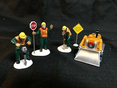 """Department 56 Snow Village """"Men At Work - Set of 5 - GREAT CONDITION - accessory"""