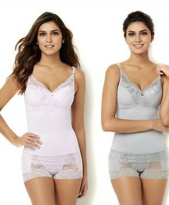 Rhonda Shear Women's Pin-Up Lace Camisole 2-pack Lilac/Light Gray Size M HSN $60