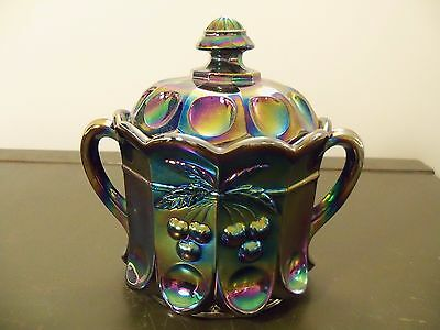 Mosser Amethyst Carnival Glass Cherry & Cable Covered Biscuit Cracker Jar 3302