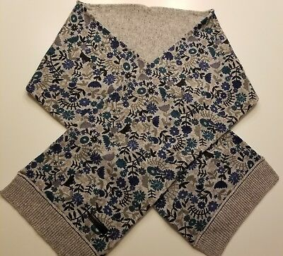 BURBERRY CHILDREN GIRLS SCARF  Color: GRAY - BLUE FLOWERS