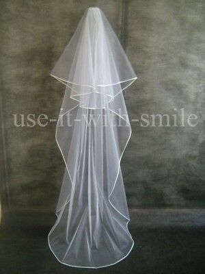 WHITE BRIDAL WEDDING VEIL 2 Tier FLOOR SATIN EDGE SWAROVSKI CRYSTALS NEW UK