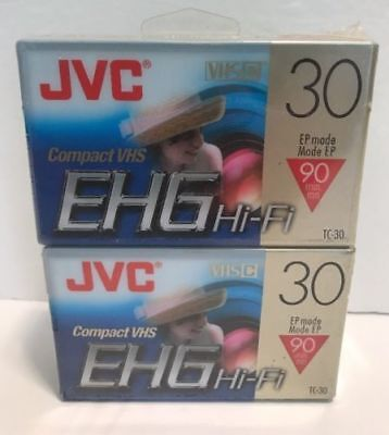 2 Pack JVC EHG Hi-Fi Compact VHS Camcorder Tape TC-30 SP 30 EP 90 Minutes NEW