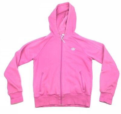 VINTAGE Womens ADIDAS Full Zip Hooded Sweater Pink Embroidered Logo Sz M D-20