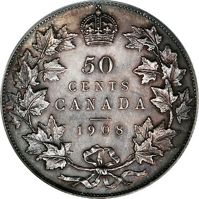1908 Canadian Silver 50 Cents ICCS / CCCS , SP-64