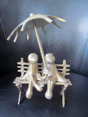 Brass Frog Figurine - Male and Female Frogs Sitting on Bench Holding Umbrella