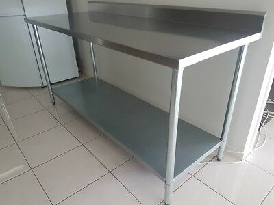 STAINLESS STEEL FOOD PREP BENCH WITH SPLASHBACK. 1800 X 700 X 900mm