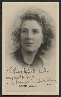 e1331)  VINTAGE SIGNED B.B.C. PROMO CARD BROADCASTER MARJORIE ANDERSON 1913-1999