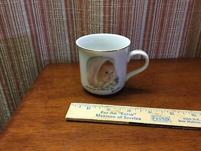 Coffee cup mug baby's first gift Frances Hook Roman 1984 pink yellow girl child