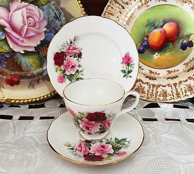 Vintage Duchess England Bone China Red & Pink Roses Trio C1960's
