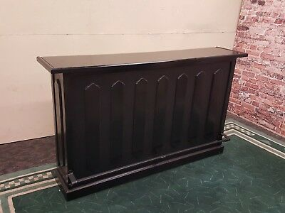 Home Bar Black Drink Station High Bar With Foot Rest Pub Style Glass Top
