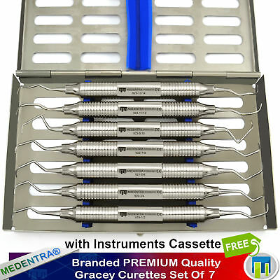 7Pcs Set Surgical Periodontal Gracey Curettes Root Canal Prepration + Tray Lab