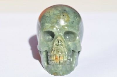 Beautiful Natural Indian Jade Hand Carved Skull!