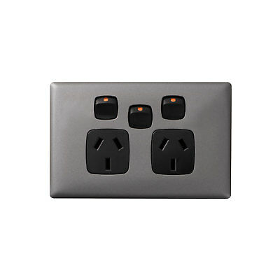 HPM LINEA DOUBLE POWERPOINT WITH EXTRA SWITCH 82x127mm 10A Gun Metal/Black