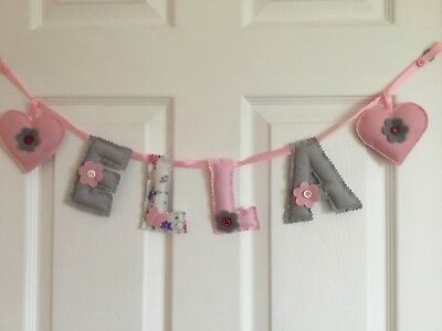 Personalised name wall door banner bunting baby/child nursery ONE LETTER