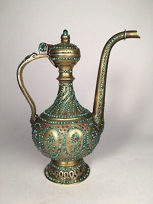 High quality Persian Islamic Qajar Bronze Ewer, dallah,  turquoise and gem set