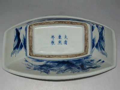 China Blue and white porcelain Ship Shape Brush Washer Painting tool draw Dragon