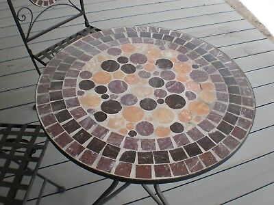 Small Tiled Top Garden Table and Chairs