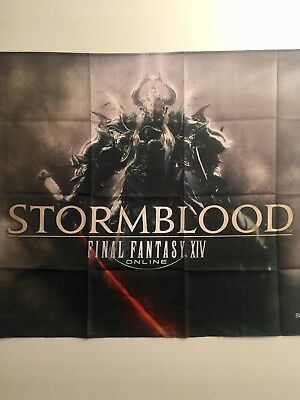 "Final Fantasy 14 XIV Stormblood Fabric Poster Cloth Wall Scroll GameStop ~40"" 27"