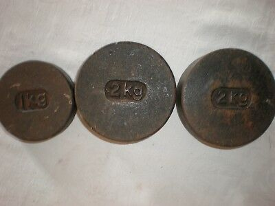Antique Vintage Cast Iron Balance Scale Weights 1 kilo and 2 x 2 kilo weights
