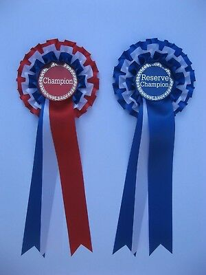 Champion and reserve champion rosettes for any event