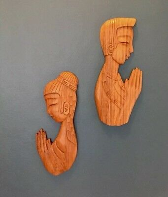 Vintage Retro 60s/70s TIMBER TEAK WALL ART/PLAQUE  Kitsch Tiki PAIR