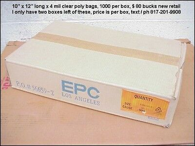 1000 Poly Bags, 10 x 12 x 4 mils Thick, Heavy Duty Clear Open Top Poly Bags
