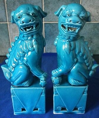 "Vintage 20th Century Turquoise Blue Pair Of Foo Dogs 8"" Signed"