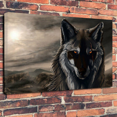 """Abstract Dark Wolf Printed Box Canvas Picture A1.30""""x20"""" 30mm Deep Home Decor"""