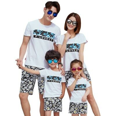 Summer Beach Family Matching Outfits T-shirt+Pants Suits Lovers Style Set