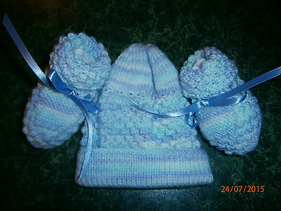 Hand knitted bootees and beanie set