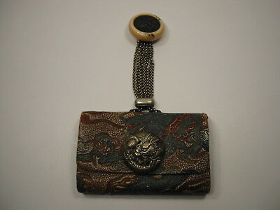 Antique Japanese Sagamono Purse - Dragon Pattern Kagamibuta  Netsuke