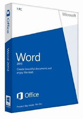 Microsoft Office Word 2013 32/64 Bit Download 1 PC Non Commercial Licence