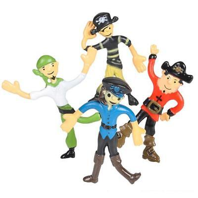 Set Of 4 Bendy Pirate Figures - Sensory Toy Figurines Party Bag Filler Kids Gift