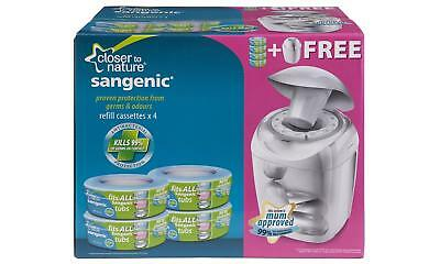 Closer to Nature Sangenic Tommee Tippee Nappy Disposal Four-Cassette Bin Set