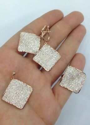 925 Sterling  Silver Over Rose Coated Jewelry Micro Pave White Topaz Ladies Set