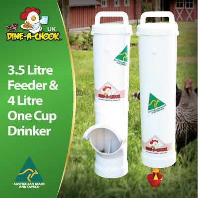 Dine a chook 3.5 litre chicken and poultry feeder, single drinker