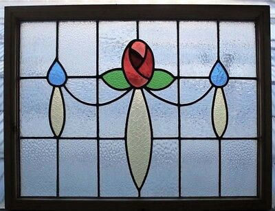 Pretty Mackintosh Rose English Antique  Stained Glass Window