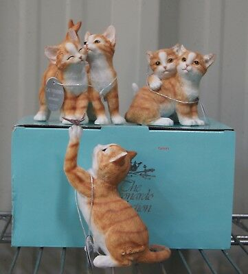 Ginger Cat and Ginger Kittens Ornament Statues BNIB Cat Lovers Gift by Leonardo