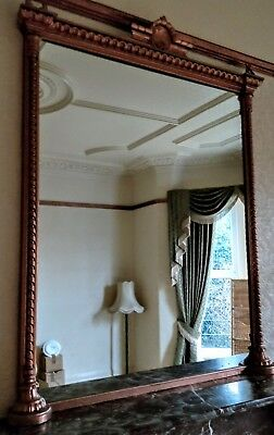 Reduced! LARGE ANTIQUE GILT OVERMANTEL MIRROR.
