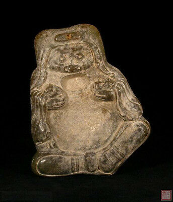 SPECIAL DISCOUNT: A Chinese Jade Ink Stone Of Man Holding Two Animals