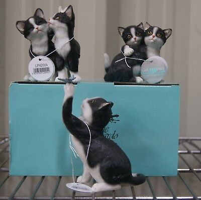 Black White Cat and Kittens Ornament Statues BNIB Cat Lovers Gift by Leonardo