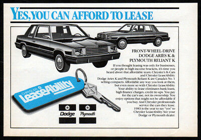 1983 DODGE Aries K Original small Print AD - LeaseAbility PLYMOUTH Reliant K
