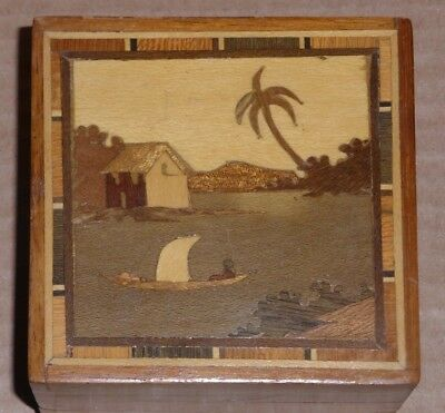 Vintage Wooden Square Trinket Box / Jewellery Box Caribbean Inlay Picture