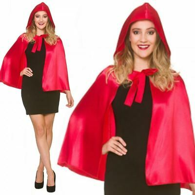 Adult Short Red Riding Hood Satin Cape Cloak Halloween Fancy Dress Accessory