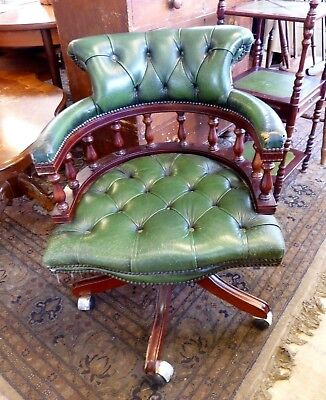 Reproduction Leather Captains Office Swivel Chair